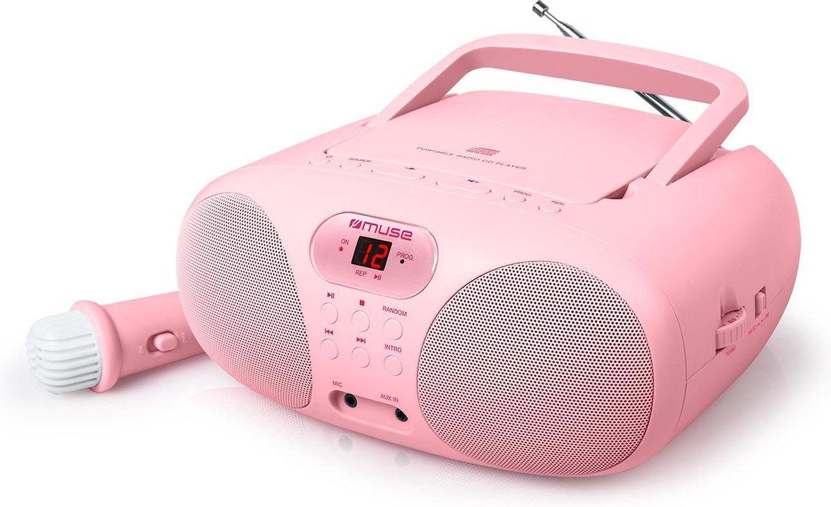 Muse MD-203 KP Draagbare Radio, CD-speler met microfoon voor kinderen, roze