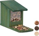 relaxdays eekhoorn voederhuisje - voederhuis - voederkast - voederbak - hout donkergroen