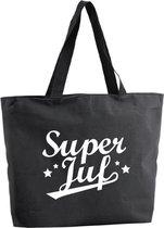 Super Juf shopper tas - zwart - 47 x 34 x 12,5 cm - boodschappentas / strandtas