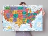 Poster Kaart USA staatkundig