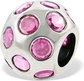 zilveren bead met roze zirkonias | Bedel | Zilverana | geschikt voor Biagi , Pandora , Trollbeads armband | 925 zilver
