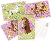 12x Paarden themafeest uitnodigingen/kaarten - Paarden kinderfeestje versieringen/decoraties