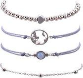 Joboly Set armbanden kralen hartje bolletjes 4 delig - Dames - Zilverkleurig - 18 cm