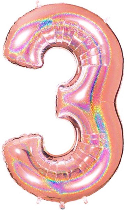 Folie Cijfer '3' Rosé Goud Holografisch - 100 Centimeter