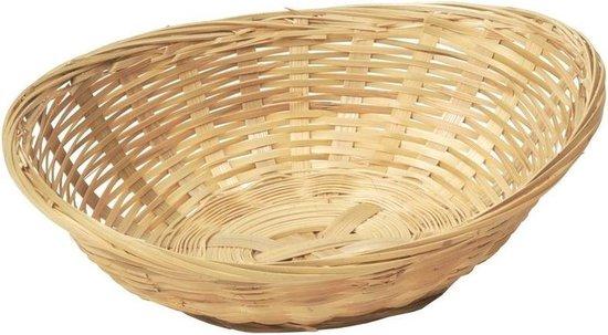 Ovale rieten/bamboe mand/schaal 22 x 17 x 7 cm - Keuken artikelen fruitschalen/manden - Huis decoratie