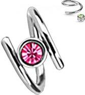 Helixpiercing twist met roze CZ balletje ertussen