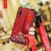 Voor Xiaomi Mi 10 Pro Floral Doekpatroon Shockproof TPU Case met houder & polsband & nek Lanyard (rood)