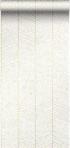 ESTAhome behang visgraat-motief wit en goud - 139135 - 0.53 x 10.05 m