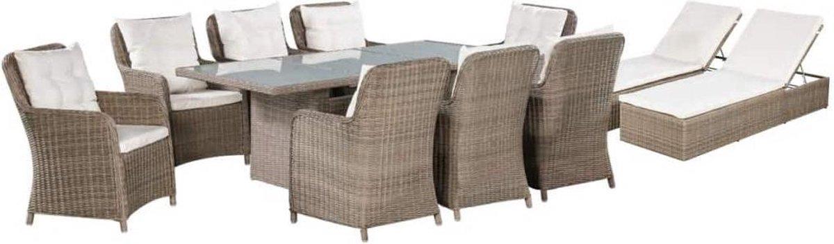MiaXL 11-delige Tuinset met ligbedden - Tuinmeubelen - Complete tuinset - Tuintafel - Eetset - Ligbed - Loungeset - 10 personen - Poly rattan - Bruin