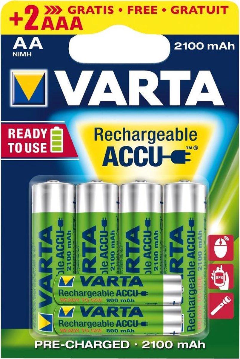 Varta AA Oplaadbare batterijen - 4 stuks + 2 stuks AAA oplaadbaar