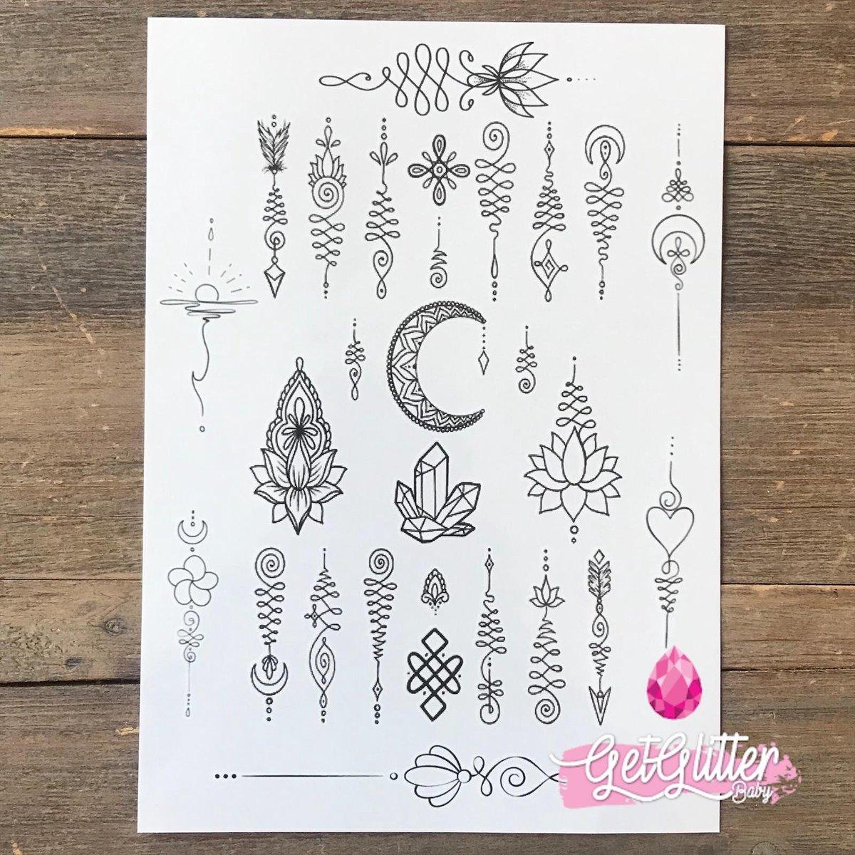 GetGlitterBaby - Henna Plak Tattoos / Tijdelijke Tattoo / Nep Tatoeage - Unalome