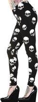 Banned Leggings -XS- WHITE SKULLS Zwart/Wit