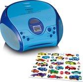 Lenco SCD-24 Kids - Radio CD speler met AUX-uitgang en sticker set - Blauw