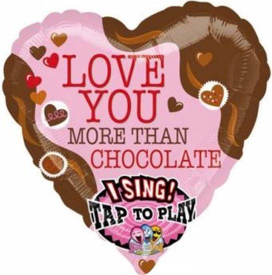 Folieballon - Muziek - Love you more than chocolate - 74cm - Zonder vulling