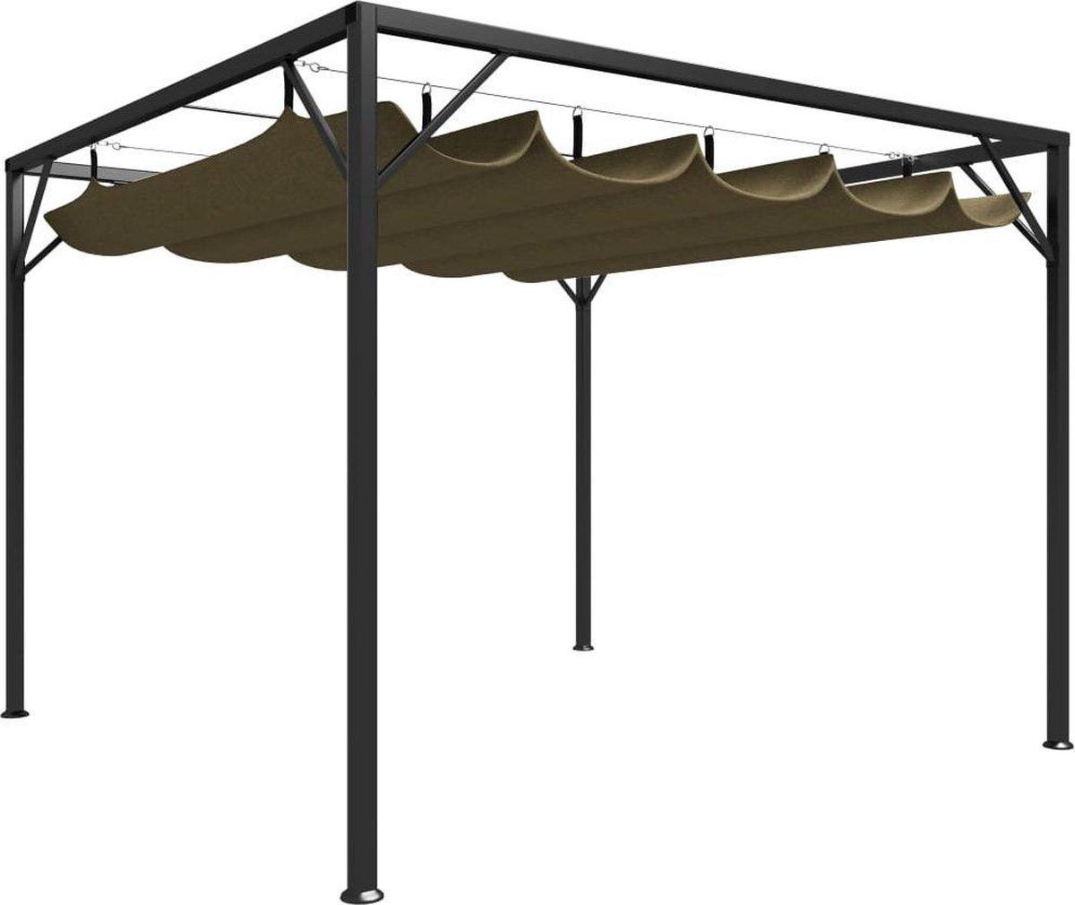 vidaXL Tuinprieel met uittrekbaar dak 180 g/m  3x3 m taupe