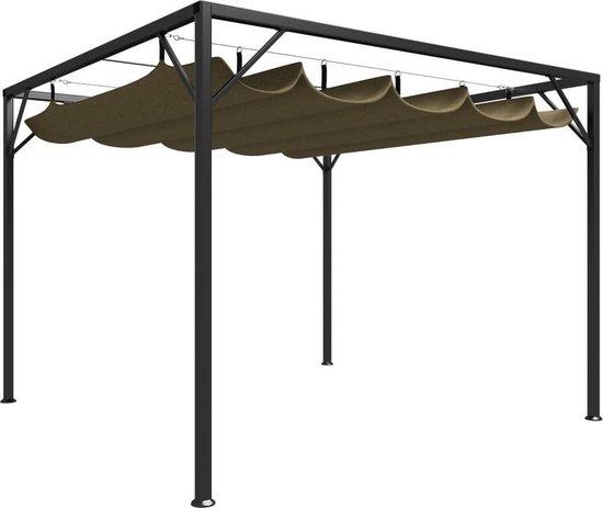 vidaXL Tuinprieel met uittrekbaar dak 180 g/m² 3x3 m taupe