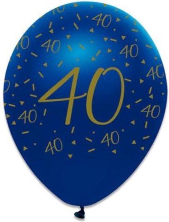 Witbaard Ballonnen 40 Jaar 30 Cm Latex Blauw/goud 6 Stuks