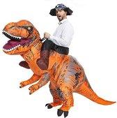 Opblaasbaar rijdend op T-rex kostuum bruin - one size - dino pak dinosaurus Jurassic World™ Trex dinopak