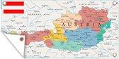 Tuinposter Kaart Oostenrijk - Landkaart van Oostenrijk tuinposter los doek 80x40 cm - Tuindoek/Buitencanvas/Schilderijen voor buiten (tuin decoratie) - Multicolor