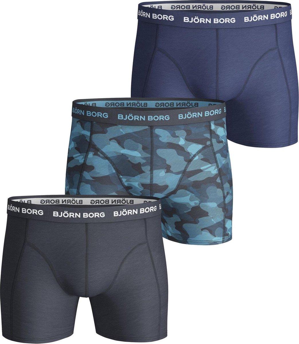 Bjorn Borg Heren Boxershorts - 3-pack - Zwart/Blauw - Maat L