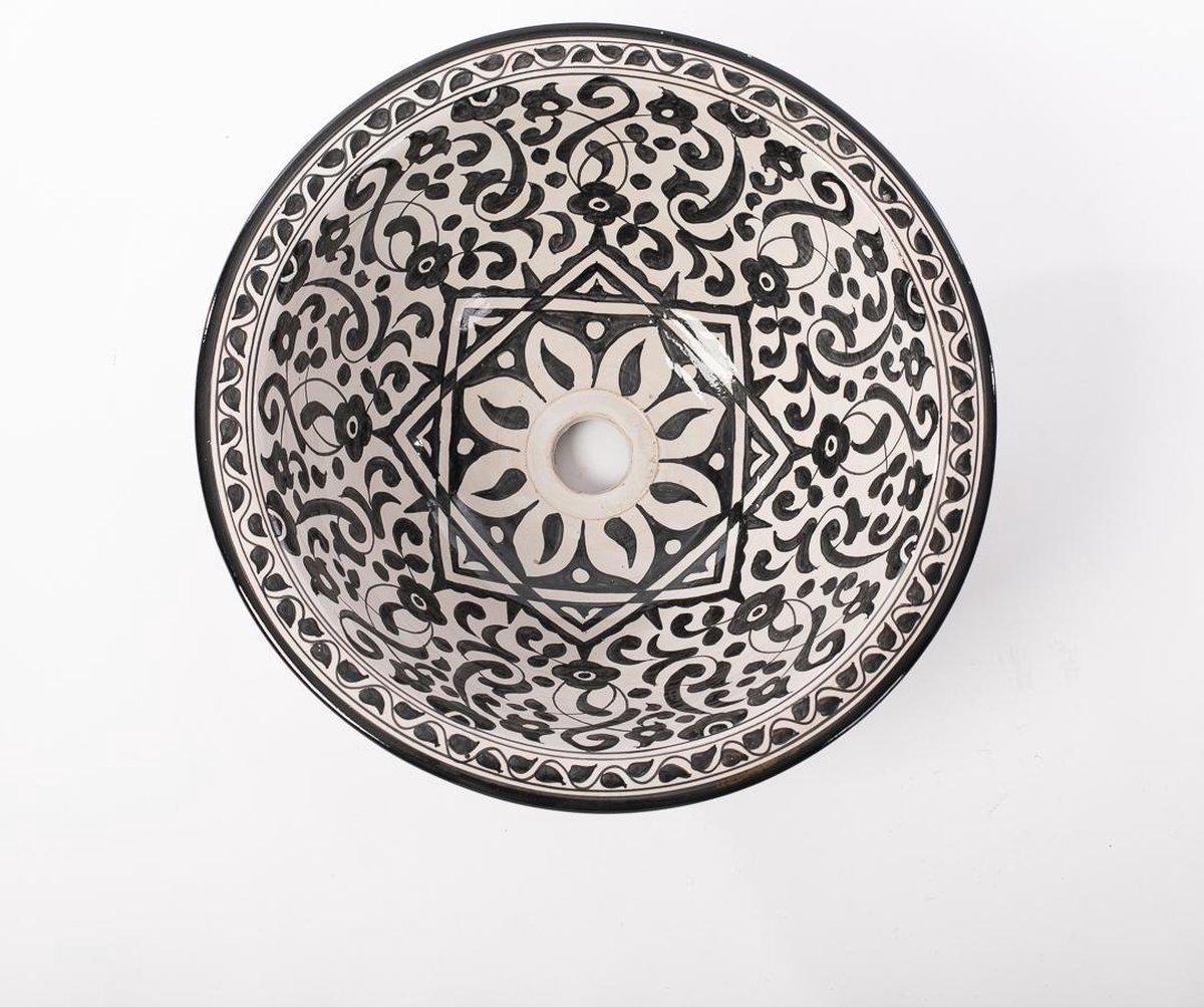 Handgemaakte aardewerk waskom Béchar Oosters motief 40cm