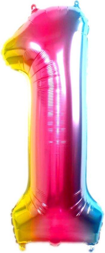 Folie Ballon Cijfer 1 Jaar Regenboog 36Cm Verjaardag Folieballon Met Rietje