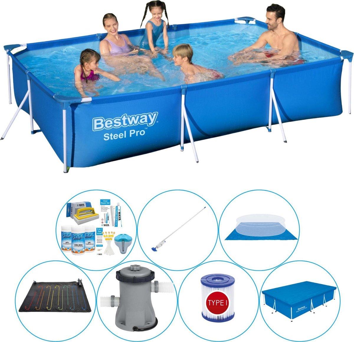 Bestway zwembad - 300 x 201 x 66 cm - afdekzeil - grondzeil - pomp - onderhoudsset - chloorpakket