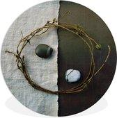 Wandcirkel Yin en Jang - Natuurlijk symbool yin en Yang - ⌀ 90 cm - rond schilderij - fotoprint op kunststof (forex) muurcirkel / wooncirkel / (wanddecoratie)