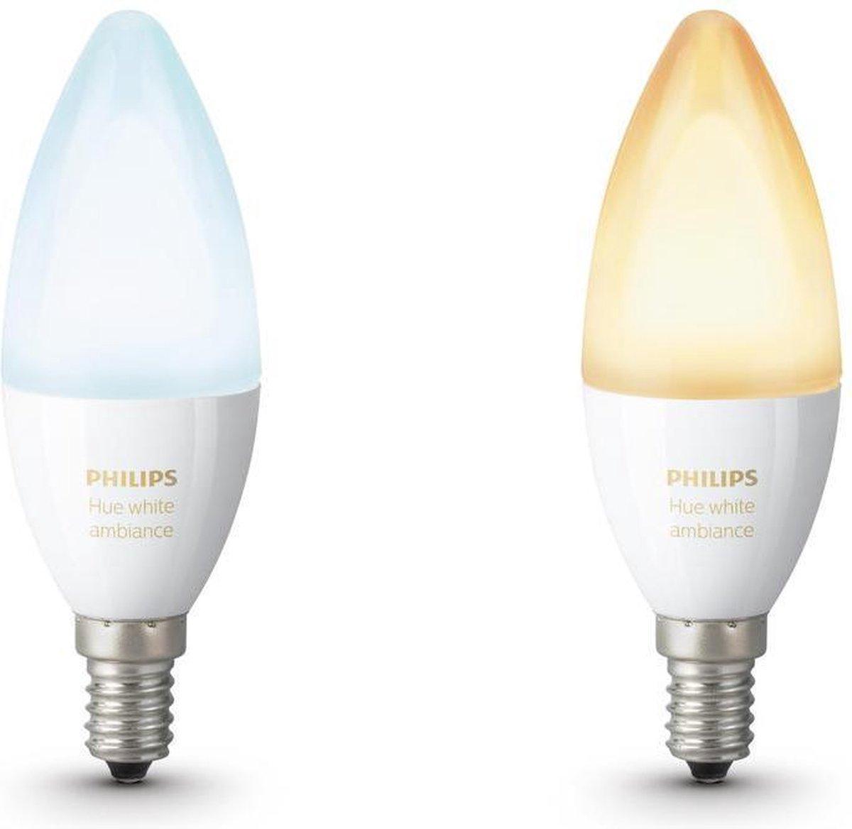 Philips Hue Slimme Verlichting Kaarslamp - White Ambiance - E14 - 2 Stuks