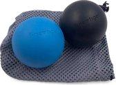 finetiger® 2x Massage Bal – Triggerpoint Bal – Lacrosse Bal - Hard - Zwart/Blauw – Massageapparaten – Incl. Opbergtas