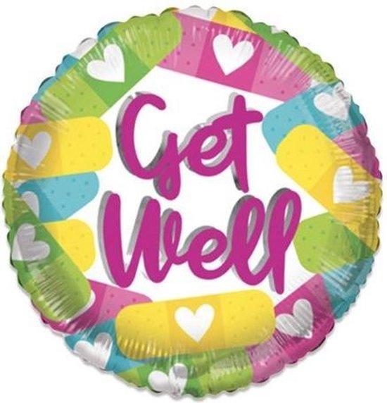 Witbaard Folieballon Eco Get Well 46 Cm Roze/wit