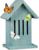 relaxdays - vlinderhuis - vlinderkast hangend - tuin - balkon - vlinder hotel turkoois