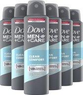 Dove Men+Care Clean Comfort Anti-Transpirant Spray - 6 x 150 ml - Voordeelverpakking