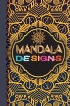 Mandala Designs: Mandala Flower Line Notebook 100 Pages 6'' x 9'' (15.24 x 22.86 cm)