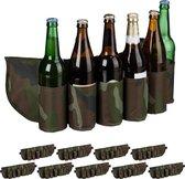relaxdays 10 x bier gordel camouflage - drankgordel  voor blikjes of flesjes - bier riem