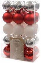 Decoris kerstballen kunststof dia6cm - 30 stuks - zilver/rood/wit