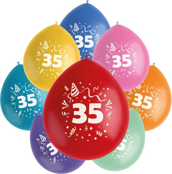 Folat Ballonnen Color Pop 35 Jaar 23 Cm Latex 8 Stuks