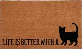 """Clayre & Eef  Deurmat """"Life is better with a cat"""""""