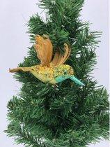 1x Kerstboomversiering op clip vogel/kolibrie geel 19 cm - Kerstboom decoratie - Gele glitter kerstversieringen