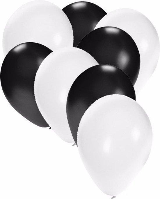 30x ballonnen wit en zwart - 27 cm - zwarte / witte versiering