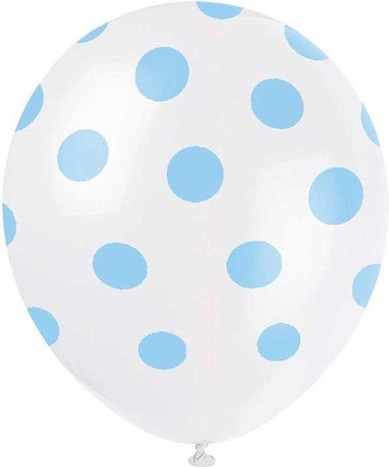 Haza Original Ballonnen Stippen 30 Cm 6 Stuks Wit/blauw