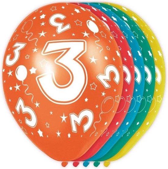 15x stuks 3 Jaar thema versiering helium ballonnen 30 cm - leeftijd feestartikelen versiering