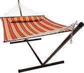 Hangmat met standaard 2 Persoons / 200kg, 190 * 140, Afneembaar kussen, Weerbestendig UV-bestendig (Rood / Geel) VITA5