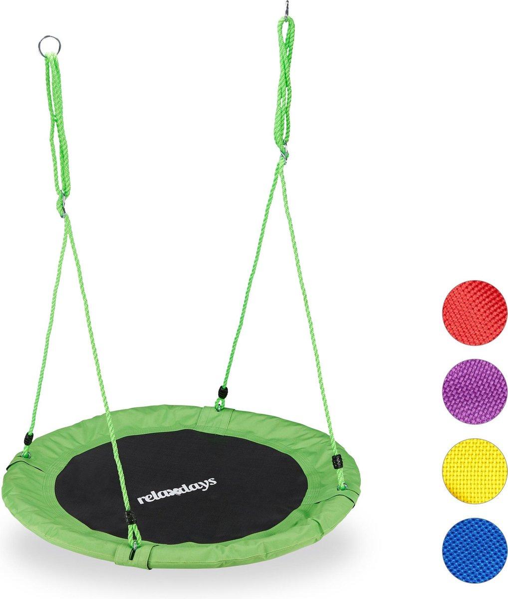 relaxdays Nestschommel - kinderschommel - schotelschommel - schommel buiten - rond - 90 cm groen