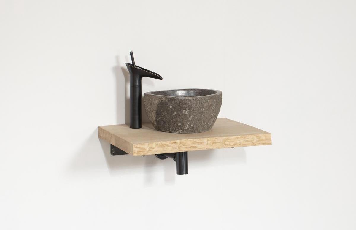 Wastafel Evia Zwart | Complete Set | 40x40x4 | charcoal
