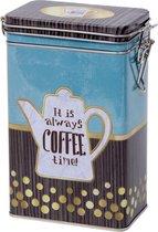 Blauw rechthoekig koffieblik/bewaarblik 19 cm - Koffie voorraadblikken - Koffiepads/koffiecups voorraadbussen