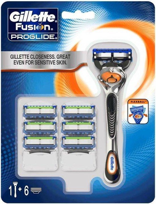 Gillette Fusion ProGlide Scheersysteem Met FlexBall Technologie + 6 Scheermesjes Mannen