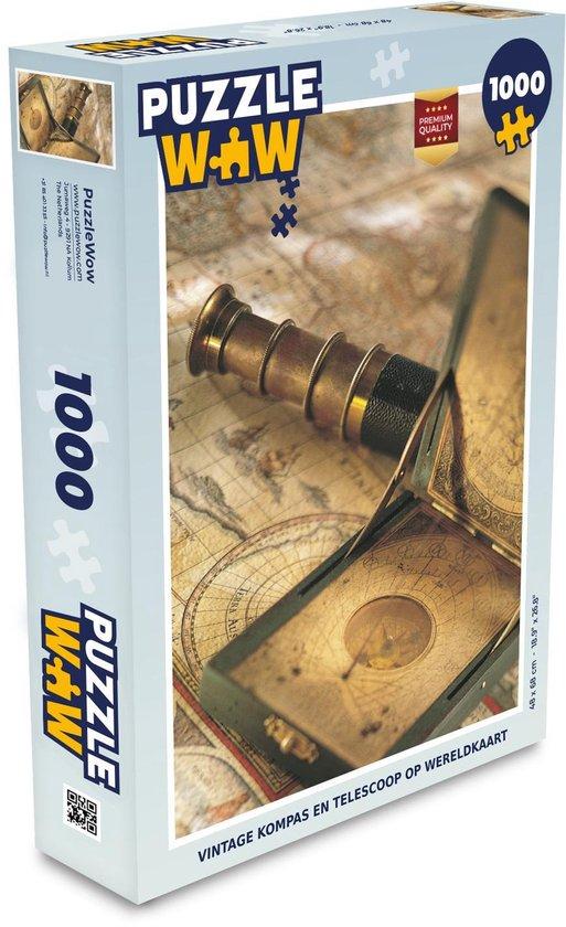 Puzzel 1000 stukjes volwassenen Ouderwets navigatiemateriaal 1000 stukjes - Vintage kompas en telescoop op wereldkaart  - PuzzleWow heeft +100000 puzzels