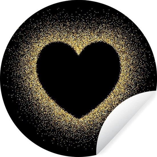 Gouden hart op een zwarte achtergrond Wandcirkel behangsticker ⌀ 30 cm / behangcirkel / muurcirkel / wooncirkel - zelfklevend & rond uitgesneden