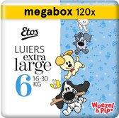 Etos Woezel & Pip Luiers XL Maat 6 - 16-30 kg - Maandbox 120 stuks (3 x 40 st)